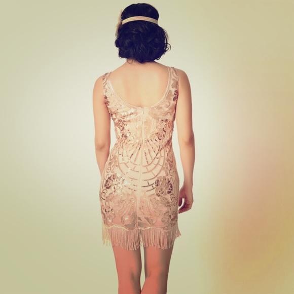 Bloomingdale S Dresses Bloomingdales Gold Sequin Fringe Cocktail